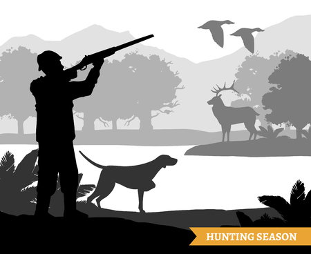 Hunter silhouette shooting flying birds and deer during hunting season monochrome flat vector illustration