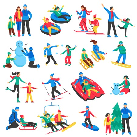 Family winter sports icons set with adults and children skiing skating making snowman flat isolated vector illustration