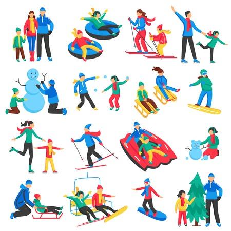 Family wintersporten pictogrammen die met volwassenen en kinderen skiën schaatsen maken sneeuwpop flat geïsoleerde vector illustratie Vector Illustratie
