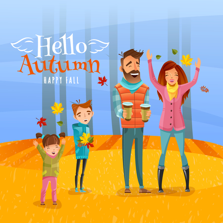 Happy family with children walking in autumn season forest and gathering dry leaves cartoon vector illustration