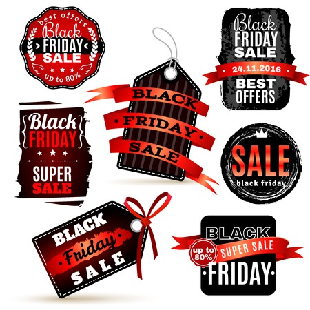 Black fridays labels set for special offers promotions discounts and advertisements isolated vector illustration