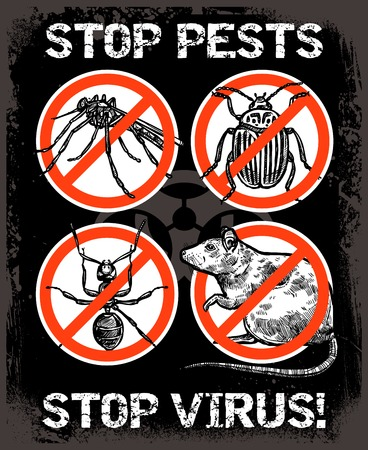 rodent: Dark sketch poster of service for pest control with insects and rodent vector illustration