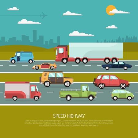 승용차와 트럭 플랫 벡터 일러스트 레이 션의 다른 유형의보기 측면 속도 고속도로 설계 개념 일러스트