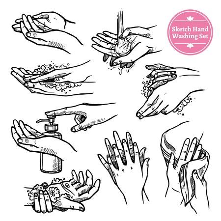 noir de soins de santé et Sketch jeu blanc des mains lavage et séchage processus isolé illustration vectorielle
