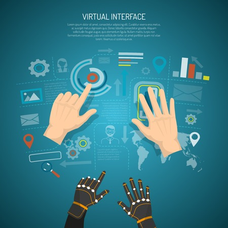 tactile: Virtual interface design concept with man hands and wired gloves transmitting tactile sensation flat vector illustration Illustration