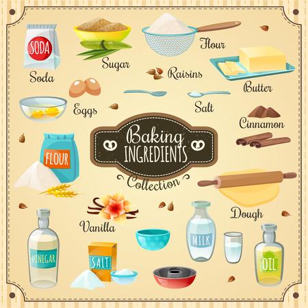 Iconos de cocina diversos ingredientes para hornear para deliciosos pasteles y utensilios necesarios ilustración del vector aislado plana