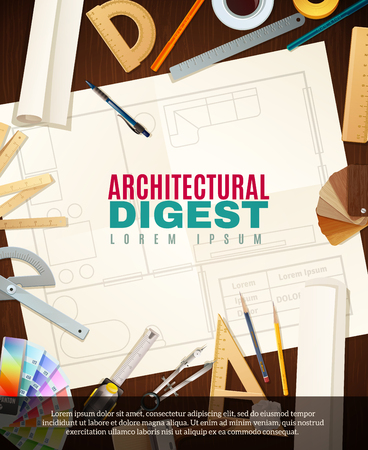 construction projects: Architect workplace with different tools for architectural construction drawing projects flat vector illustration