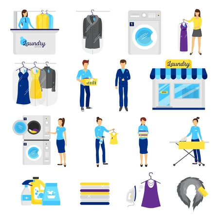 dry suit: Laundry service set with dry cleaning symbols flat isolated vector illustration