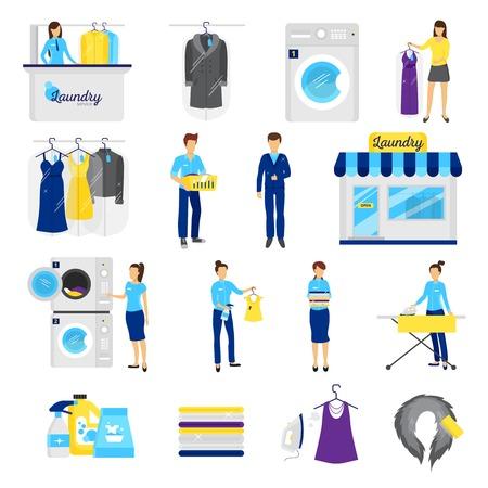 Servizio di lavanderia della serie di simboli di lavaggio a secco piatto isolato illustrazione di vettore Vettoriali