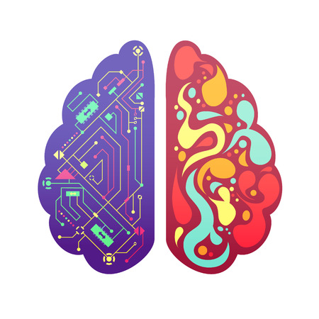 Left and right human brain cerebral hemispheres pictorial symbolic colorful figure with flowchart and activity zones vector illustration Çizim