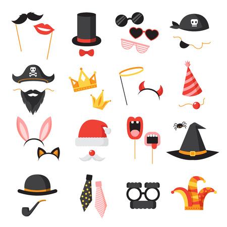 Photo Booth partij pictogrammen die met oren baard en een bril vlakke geïsoleerde vector illustratie