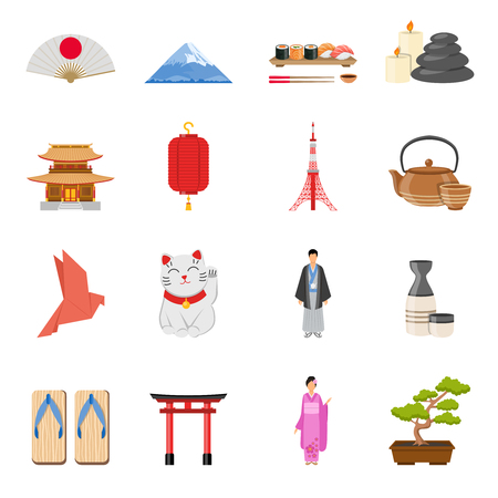 Japanese culture traditions  and national symbols flat icons collection with tea ceremony and kimono isolated vector illustration Illustration