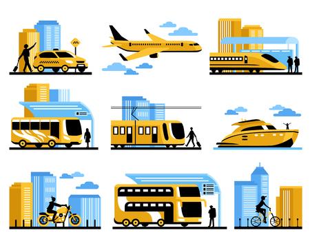 transporte terrestre: personas que viajan aislados elementos decorativos conjunto con los pasajeros y diferentes tipos de agua de la aviación y la ilustración del vector de transporte terrestre