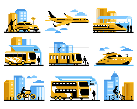 intercity: Traveling people isolated decorative elements set with passengers and different kinds of aviation water and ground transportation vector illustration