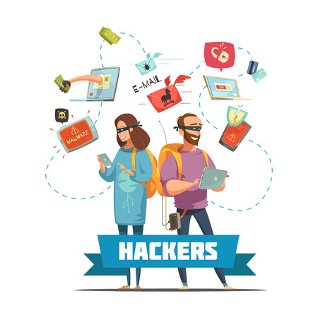 computer attack: Cyber criminal hackers at work stealing  passwords information and bank account access retro cartoon poster vector illustration Illustration