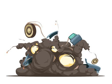 Remote controle car bom explosion  detonation moment with flying debris at blast site retro cartoon poster vector illustration Ilustração