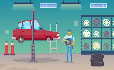 Auto repair shop service worker replaces damaged tyre and changing wheels with car lift poster vector illustration Çizim