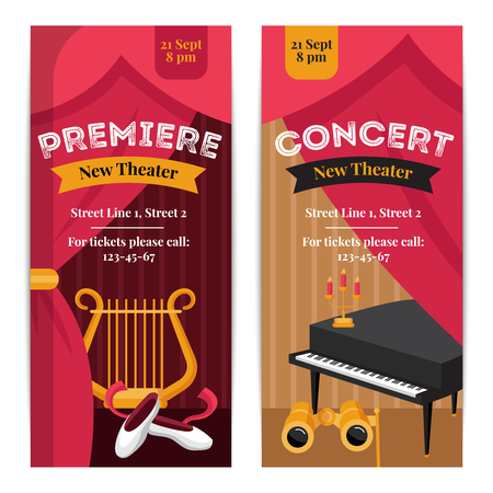 stage props: Theatre poster vertical banners set with concert symbols flat isolated vector illustration Illustration