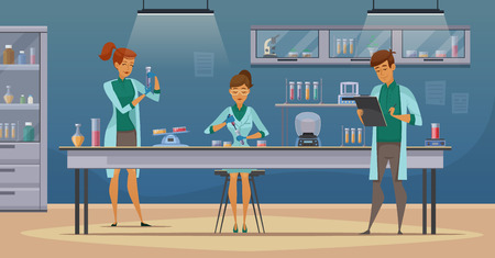 科学的な医療化学または生物のラボを設定実験ベクトル イラスト ポスター レトロな漫画で作業実習助手  イラスト・ベクター素材