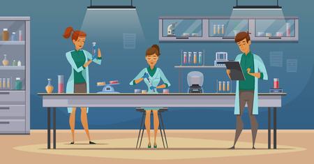 Laboranten arbeiten in wissenschaftlichen medizinischen chemischen oder biologischen Labor Einstellung Experimente retro Cartoonplakat Vektor-Illustration