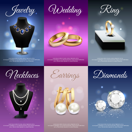 necklaces: Colorful jewelry realistic banners with necklaces rings earrings diamonds bokeh and light effects isolated vector illustration