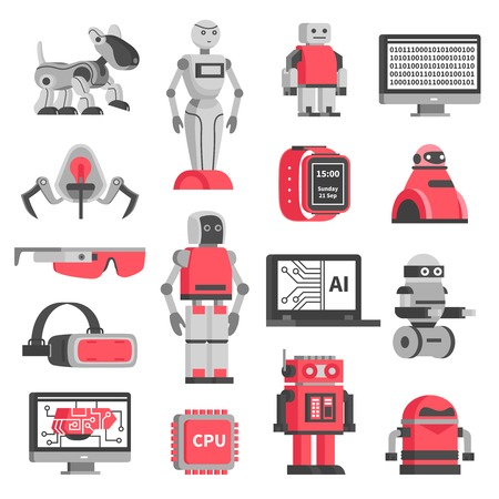 Artificial intelligence flat decorative icons set of robotic models and virtual reality headset isolated vector illustration Illustration