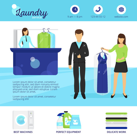 Laundry Service Set With Dry Cleaning Symbols Flat Isolated Vector