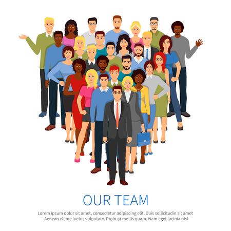 diversidad: gente grupo profesional composición plana con la parte superior del cartel oficina de director del equipo de negocios y miembros del personal ilustración vectorial