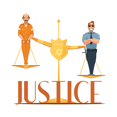 Law jurisdictions and scale of justice symbolic composition with convict and police officer retro cartoon vector illustration