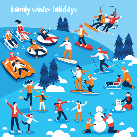 ricreazione: Collezione di design di icone decorative con le persone ei loro figli impegnati in sport invernali in vacanza illustrazione vettoriale piatta