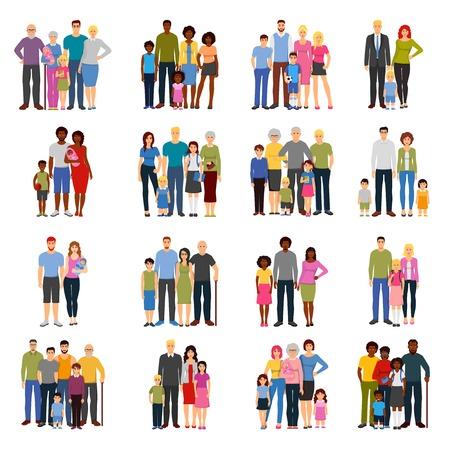familias jovenes: parejas jóvenes y familias con hijos adolescentes de los abuelos padres y madres iconos planos aislados establecer ilustración vectorial