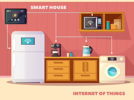 kitchen device: Internet of things iot smart house kitchen retro composition poster with refrigerator and coffee machine vector illustration Illustration