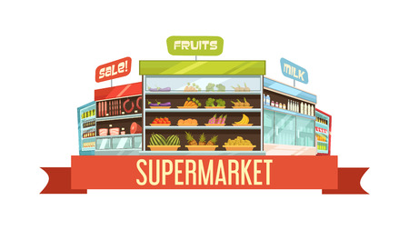 product display: Supermarket display stand retro composition poster with dairy products and fruits shelves racks cartoon vector illustration