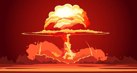 Esplosione nucleare in aumento arancione palla di fuoco atomica fungo atomico in test di armi deserto poster retrò cartone animato illustrazione vettoriale Vettoriali