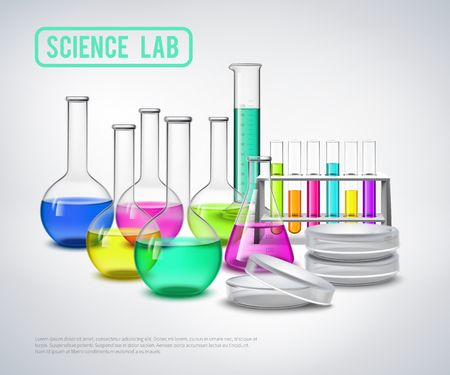 with liquids: Laboratory bottles composition with color liquids in jars realistic glass tubes flat vector illustration Illustration