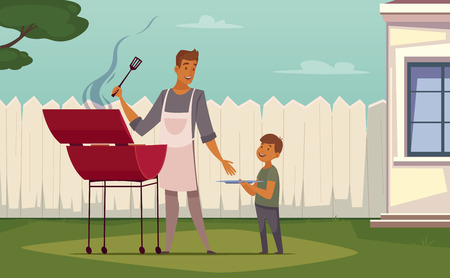 patio: Summer weekend barbecue on patio lawn retro cartoon poster with bbq grill father and son vector illustration Illustration