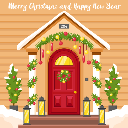 christmas decor: New year card with front house door decorated by lanterns holly wreath and christmas trees flat vector illustration
