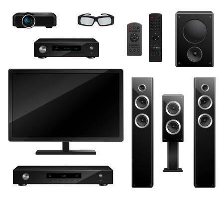 tv camera: Realistic house appliances set with TV camera 3D glasses musical speakers dvd-player remote isolated vector illustration Illustration