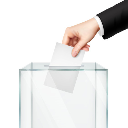 voting ballot: Realistic voting concept with hand putting vote paper in the ballot box isolated vector illustration Illustration