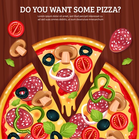 wooden cut: Flat vector illustration of pizza with cut piece and advertising text on wooden board background Illustration