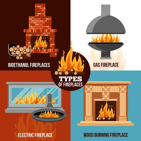 gas fireplace: Fireplaces design concept with different types construction and source of burning isolated vector illustration