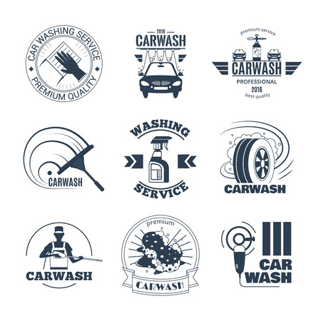 excellent quality: Full service and excellent quality mobile car wash companies chains black emblems labels collection isolated vector illustration
