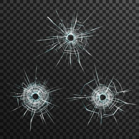 Bullet holes template in glass on transparent gray background isolated vector illustration