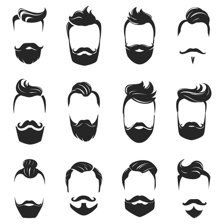 beard man: Hipster fashionable beard moustache and hair styles monochrome set isolated on white background flat vector illustration Illustration
