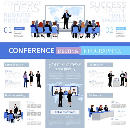 Conference meeting people infographics template with different types of negotiation in flat style vector illustration 向量圖像