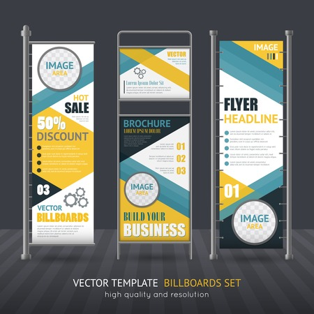 performed: Promotional vertical billboard set performed in one style for company identity isolated vector illustration