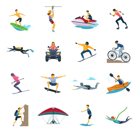 Extreme sport activities flat icons collection with whitewater canoeing skydiving and free stile motocross isolated vector illustrations