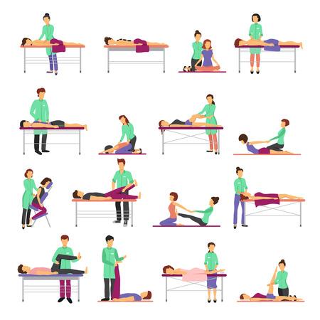 iconos de masaje establecen con símbolos de asistencia sanitaria ilustración vectorial aislados plana