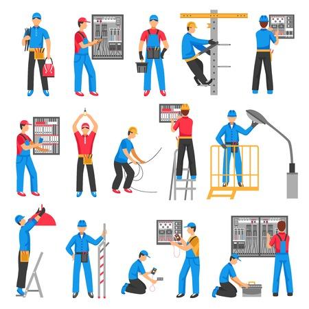 Les personnes électriques des icônes décoratives installées avec des électriciens effectuant des travaux électriques à l'intérieur et à l'extérieur Illustration vectorielle plate