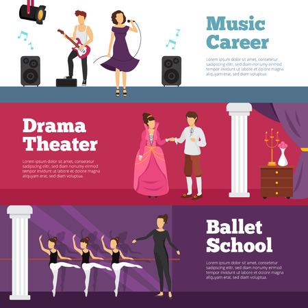 Théâtre gens bannières établies avec l'école de ballet et de la musique carrière plat isolé illustration vectorielle Banque d'images - 69999532